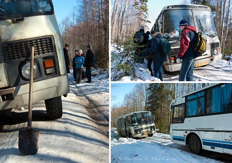 Помогаем вытащить застрявший автобус