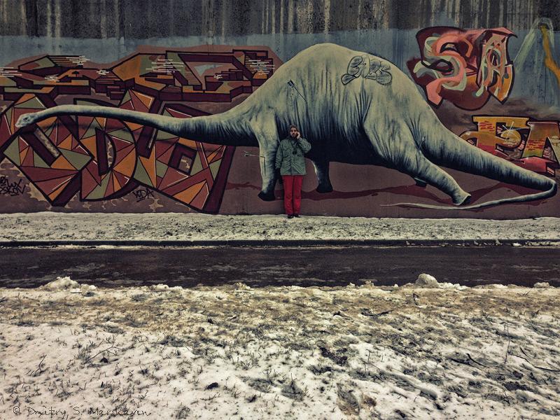 Псков, Лёня, графити, динозавр